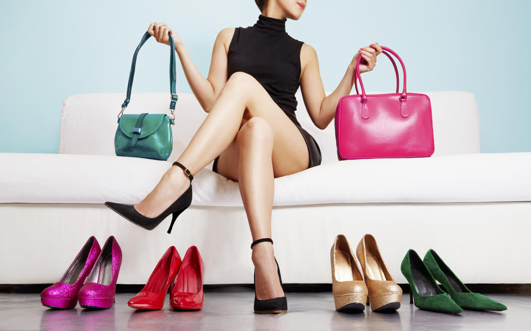 Colorful shoes and bags with woman. Shopping fashion images.